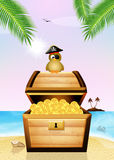 Pirate bird on treasure chest Royalty Free Stock Photos