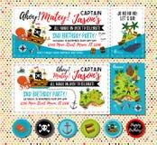 Pirate birthday invitation. Treasure Map Invitation. Pirate Party Decorations for Birthday Party or Baby Shower. Pirate royalty free illustration