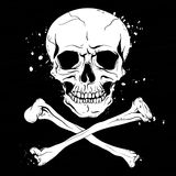 Pirate black flag with skull and crossbones Stock Photo