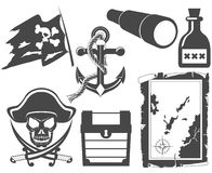 Pirate black and white icon set Stock Photography
