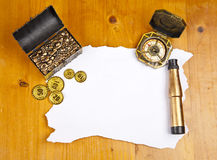 Pirate blank map. With treasure, compass and binocular stock photography