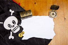 Pirate blank map with treasure Royalty Free Stock Image