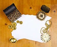 Pirate blank map with treasure. Coins, medal and ring royalty free stock photos