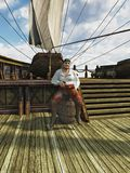 Pirate on Board Ship stock illustration