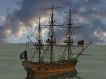 Pirate Boat. 3D Render of an Pirate Boat Stock Photography