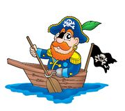 Pirate in the boat. Color illustration Royalty Free Stock Photo