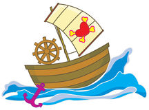 Pirate boat. A pirate ship in the sea moving fast with pirate symbol of bones and love shape stock illustration