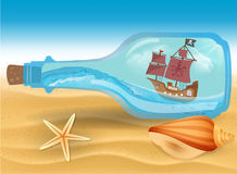 Pirate boat in a bottle. Vector royalty free illustration
