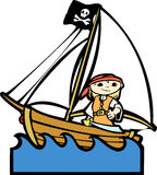 Pirate Boat with Girl Royalty Free Stock Photos