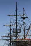 Pirate boat. Over blue sky stock image