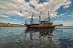 Pirate Boat Sailing on the waters of Thessaloniki Stock Image