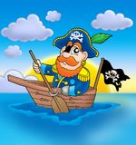 Pirate on boat with sunset. Color illustration Stock Photos