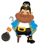 Pirate and bomb. Happy pirate stand with bomb with a fire Stock Image