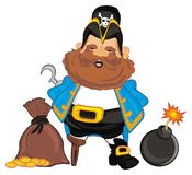 Pirate with bomb and money. Happy pirate stand with gold cents and bomb Royalty Free Stock Images
