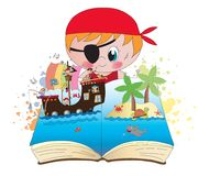 Pirate book illustration. Pirate book with happy children Stock Images