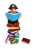 Pirate with Book stack & book. 3d rendered illustration of Pirate with Book stack & book Royalty Free Stock Photography