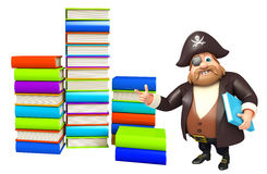 Pirate with Book stack. 3d rendered illustration of Pirate with Book stack Stock Images