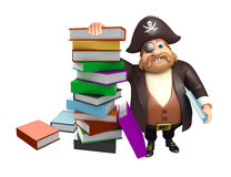Pirate with Book stack. 3d rendered illustration of Pirate with Book stack Stock Image