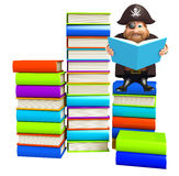 Pirate with Book stack. 3d rendered illustration of Pirate with Book stack Royalty Free Stock Photos