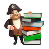 Pirate with Book stack. 3d rendered illustration of Pirate with Book stack Stock Photo
