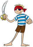 Pirate Boy. A young boy plays in the costume of a pirate and wields a cutlass Stock Photography
