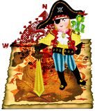 Pirate boy. Standing on a treasure map with a sward, a parrot on his shoulder in front of a compass background Royalty Free Stock Photography