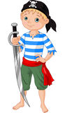 Pirate boy. Illustration  of cute pirate boy holding sword Royalty Free Stock Images