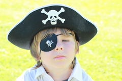 Pirate boy. Face of a little boy with pirate hat Stock Image