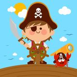 Pirate boy captain sailing on ship with steering wheel. And a crab with a telescope. Vector illustration Stock Images