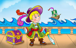 Pirate  boy colorful artistic illustration Stock Image
