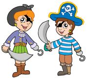 Pirate boy and girl. Vector illustration Stock Photos