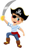 Pirate Boy Holding Sword Isolated Stock Photo