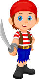 Pirate boy holding sword Royalty Free Stock Image