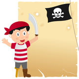Pirate Boy and Old Parchment. A cartoon pirate boy with a jolly roger flag and a blank old parchment scroll. Eps file available royalty free illustration