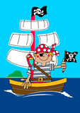 Pirate boy sailing on ship with parrot Stock Image