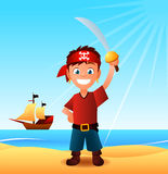 Pirate boy with ship Stock Images