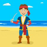 Pirate boy with sword standing at the tropical beach. Pirate happy boy with sword standing at the tropical beach Stock Images