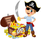 Pirate Boy Sword Treasure Chest Isolated. Cartoon pirate kid with eye patch and sword in front of treasure chest isolated on white background.  You can find Stock Photography