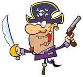 Pirate Brandishing Sword and Gun Balances on Peg L. Eg Stock Images