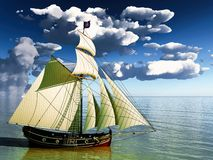 Pirate brigantine. Out on sea Royalty Free Stock Photo