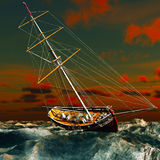 Pirate brigantine. Out on sea royalty free stock images