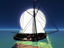 Pirate brigantine. Out on sea Stock Photo