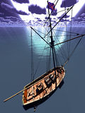 Pirate brigantine. Out on sea royalty free stock image