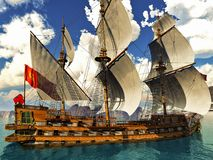 Pirate brigantine Stock Photos
