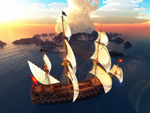 Pirate brigantine Royalty Free Stock Image