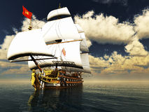 Pirate brigantine. Out on sea with awesome clouds Stock Image