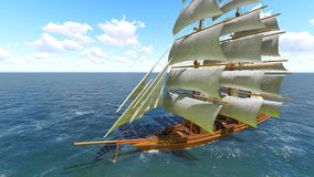 Pirate brigantine at sea. Ancient Pirate brigantine at sea stock photography