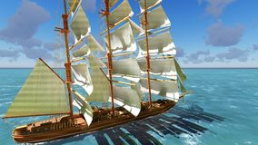 Pirate brigantine at sea. Ancient Pirate brigantine at sea royalty free stock image