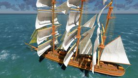 Pirate brigantine at sea. Ancient Pirate brigantine at sea royalty free stock photo