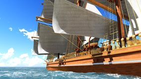 Pirate brigantine at sea. Ancient Pirate brigantine at sea stock images